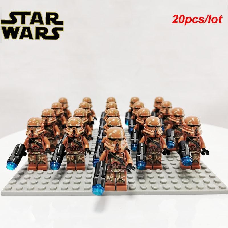 20pcs//lot STAR WARS Geonosis Clone Trooper with Gun Fit Lego