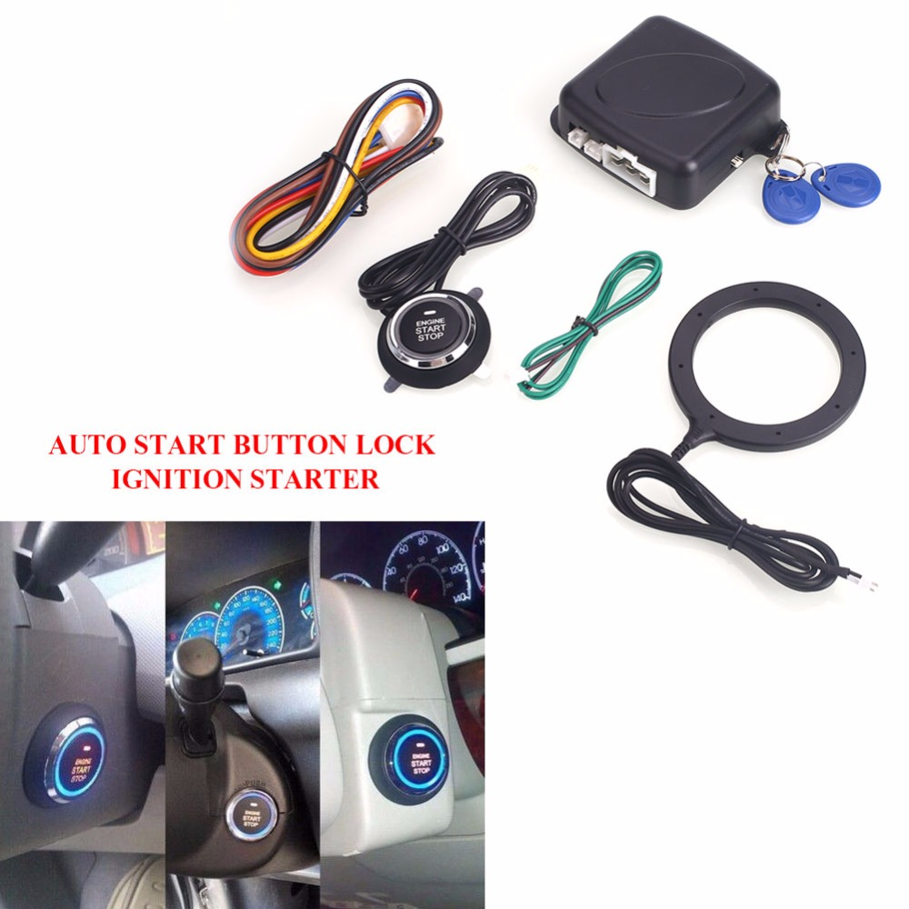 Vehemo Auto Car Alarm Engine Starline Push Button Start Stop RFID Lock Ignition Switch Keyless Entry System Starter Anti-theft