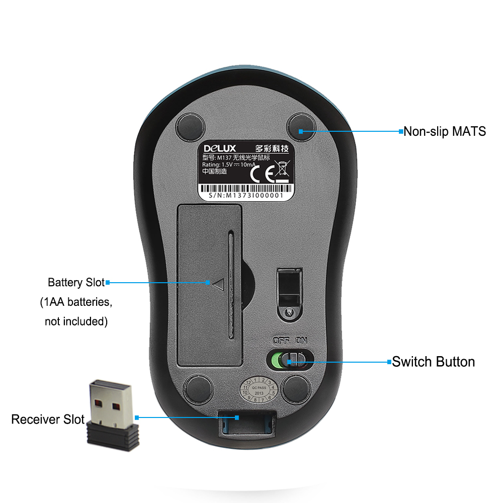 Delux wireless mouse mause