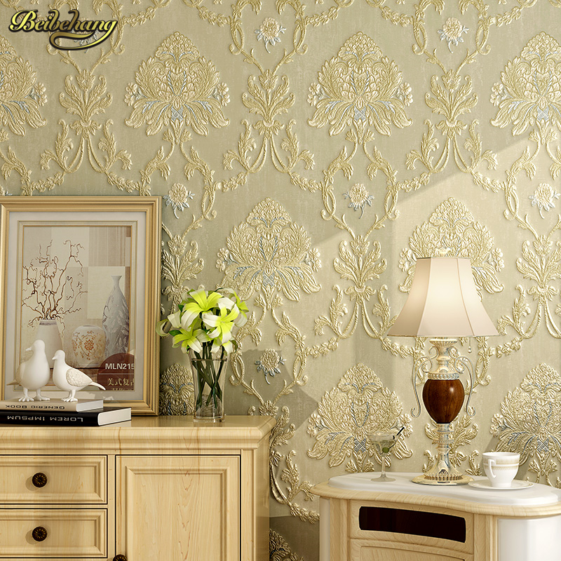 beibehang papel de parede 3D Embossed Classic Damask Wallpaper Modern Textured of Wall Paper Bedroom Vintage PVC Wallpaper Roll<br>