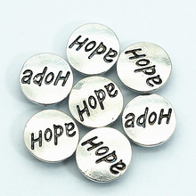10pcs New KZ9056 Beauty Lovely Hope words Metal 12MM snap buttons for DIY snap bracelets(China)