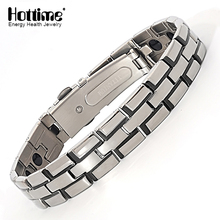 Hottime Black Color Pure Titanium Steel Bracelets Men's Fashion Easy-hook Germanium Bracelet Bangle(China)