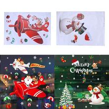 Christmas Decorations Static Decals Santa Snowman Deer Bell Rattan Christmas Tree Door Window Stickers