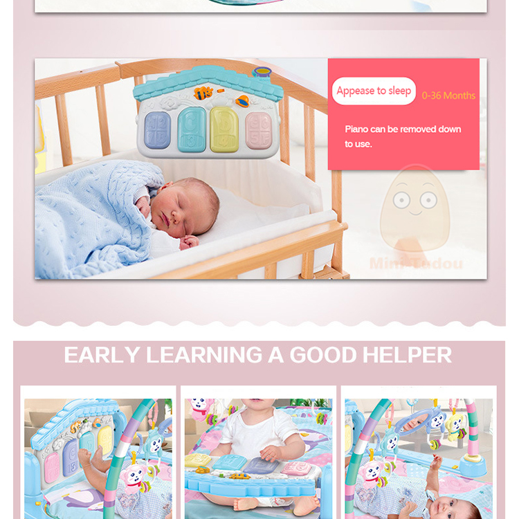 MiniTudou Baby Activity Play Mat Baby Gym Educational Fitness Frame Multi-bracket Baby Toys 0-12 Months Game Mats For Kids 7