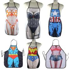1pc Hot Sale Super Hero Superman Lovely Rude Cheeky 3D Printed Apron Sexy Kitchen Cooking Home BBQ Aprons