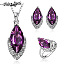 2016 Fashion Wedding Accessories Purple China Bridal crystal Jewerly Sets for Women S016