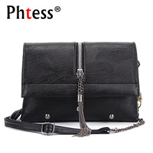 PHTESS Women Messenger Bags 2017 Vintage Leather Shoulder Bag Crossbody Bags For Women Fashion Tassel Handbag Shoulder Sac Bolsa(China)