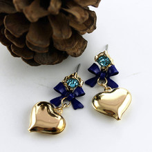 XQ Free shipping 2015 The new BJ yellow hearts blue bow blue earrings gifts for girls The new popular banquet texture