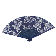 dark Blue Bamboo Frame Rose Pattern Foldable Hand Fan for Women