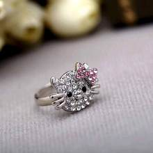 TOMTOSH Tomtosh New Fashion Crystal Cat  Rhinestone Hello Kitty Ring  KT Jewelry For Girls Ring
