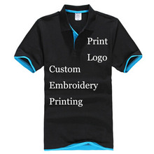 Print Custom poloshirt 100% cotton Customize Made Silk Screen Digital Glue Print Embroidery Name Text Logo Graphic Personalized(China)