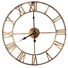 18.5 Inch 3D Large Iron Retro Classic Large Metal Wrought Iron Wall Clock Provincial Roman Numerals Home Clock Modern Design