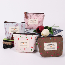 2PCS Small Fresh Pastoral Style Coin Purse Lady Canvas Zipper Wallet Cute Plant Pattern Package Key Holder Handbag(China)