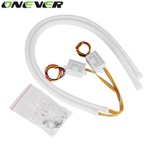 2pcs/lot 60cm DRL Flexible LED Tube Strip Style Daytime Running Lights Tear Strip Car Headlight Turn Signal Light Parking Lamps