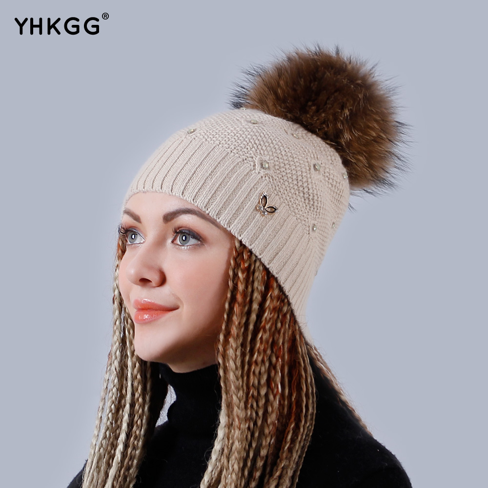 YHKGG Beanies Cap Adjustable Hats Size Rabbit Womens Hats with Natural Real Raccoon Fur Pom Pom Winter Crochet Hat  H009Одежда и ак�е��уары<br><br><br>Aliexpress