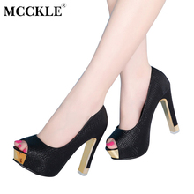 MCCKLE Women Sexy Shoes Woman Pumps Women High Heels Shoes Heels Platform Shoes Fashion Comfortable Party Shoes Female Peep Toe(China)