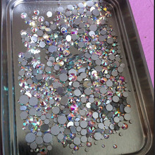 Mix Sizes 1000PCS/Pack Crystal Clear AB Non Hotfix Flatback Rhinestones Nail Rhinestones For Nails 3D Nail Art Decoration Gems