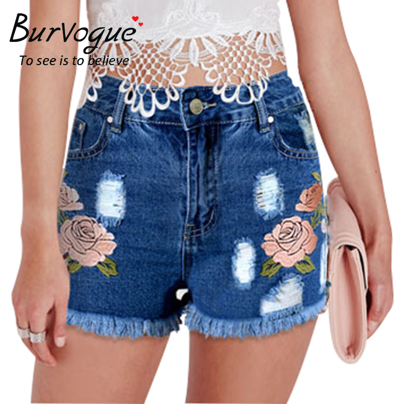Burvogue Women Summer Embroidery Flower Jeans Shorts Tassel and Hollow Out Jeans Pants Mid Waist  Ripped Jeans PantsОдежда и ак�е��уары<br><br><br>Aliexpress