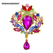 Beautiful Multi Color Large Size Crystal Drop Brooches in assorted colors for Women or Wedding Ornaments
