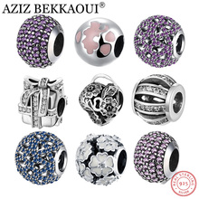 AZIZ BEKKAOUI 925 Sterling Silver Full Crystal Clear CZ Beads fit DIY Bracelets & Bangle Original European Heart Charms(China)