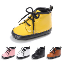Fashion Martin Baby Shoes PU Leather Toddler Baby Boy Shoes Black White Girls Baby Boots Shoes First Walkers 2216(China)
