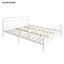 iKayaa DE Stock Metal Bed Frame With Wood Slats Double/King Size Mattress Foundation + Headboard & Footboard Bedroom Furniture