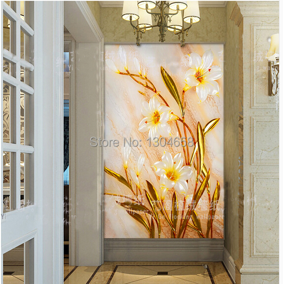 Free shipping custom 3d stereoscopic wallpaper embossed gold lily entrance living room sofa TV wall murals nonwoven wallpaper<br><br>Aliexpress