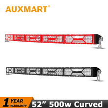 "Auxmart 52"" 500W Curved Led Light Bar CREE Chips Work Black/Red Shell Cover DRL Fit 4x4 Wagon SUV Truck Pickup Offroad ATV 12V"