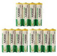 12pcs 100% New Really Brand High Perfomance Promotion 1.2V 3000mAh Rechargeable AA Battery,Free Shipping
