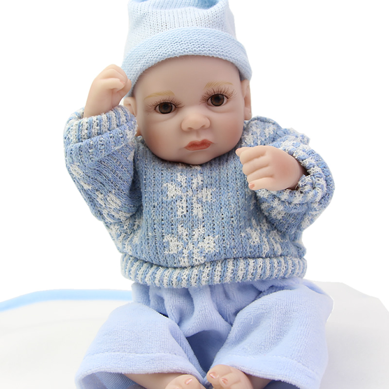 Handmade Tiny 11 Inches Reborn Boy Dolls Full Soft Silicone Newborn Doll Babies Wearing Blue Clothes Kids Birthday Xmas Gift<br><br>Aliexpress