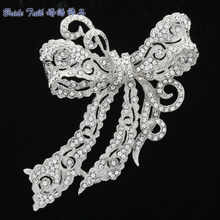 New 2015 Fashion Jewelry Rhinestone Brooches Crystal Bow Bowknot Brooch Broach Pin for Wedding Bridal Free Shipping 5 Color 5823(China)