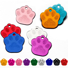 Wholesale 100pcs Paw Shape 2 Sides Tag pet dogs and cats ID Cat Puppy Name Phone No. of Pet accessories aluminum products decor(China)