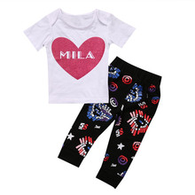 Cute Kids Newborn Infant Baby Boys Girls Clothes MILA Letter Heart T-Shirt Tops+Long Print Pants Outfits Baby Set