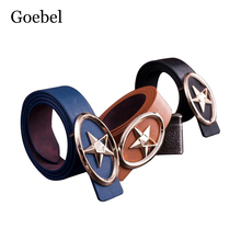 Goebel Men's Belt Fashion Solid Color Smooth Buckle Man's Creative Belt Star Pattern PU Leather Brand Belts Men(China)