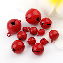 30pc/lot Red8/10/12mm Metal Jingle Bells Loose Beads Festival Party Decoration/Christmas Tree Decorations/DIYCrafts Accessories(China)