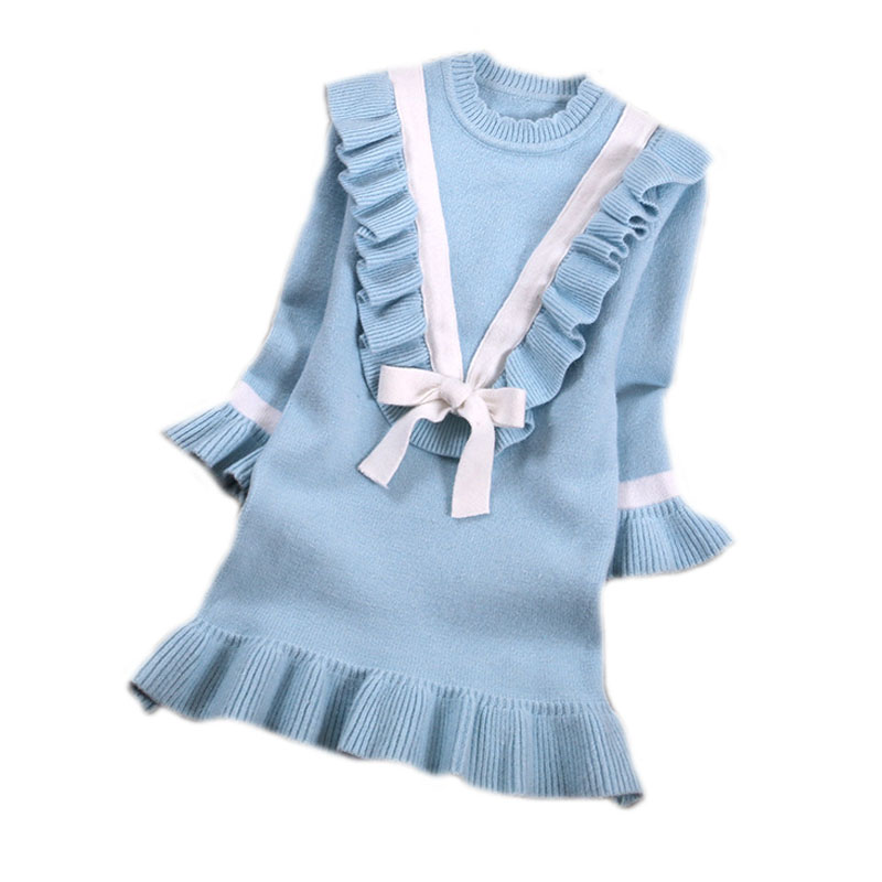 winter knitted sweater girl 2016 new winter pullover girls medium long kintted pullover for girls cute girls sweater 4-13T<br>
