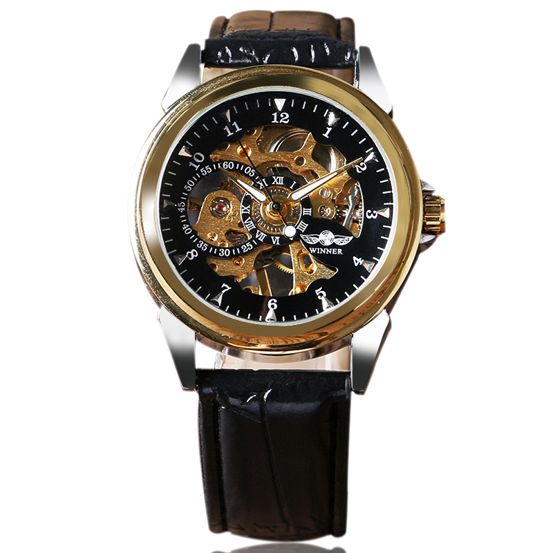 WINNER Skeleton Hand-wind Mechanical Men Watch Business Crocodile-Embossed Leather Band Wristwatch Dress Analog Relogio<br><br>Aliexpress