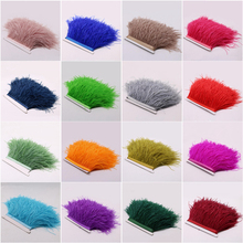 10Meter 10-15CM Colored Real Ostrich Feather Trims Skirt Dress Costume Ribbon Feathers Trimming Plumes - Store store