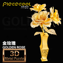 Golden Rose DIY 3D Jigsaw model New Metal Puzzle Assembled Intellegent Kids Educational Toy gift to girlfriend and for kids toy