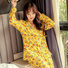Spring Autumn Women's Cotton Print Character SpongeBob Long Sleeve Pajamas Sets Warm Ladies Sleepwear Home Clothing
