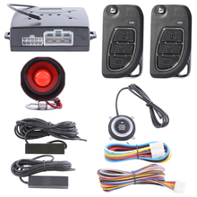 Quality PKE passive keyless entry car alarm system with push button start remote engine start and spare key blade