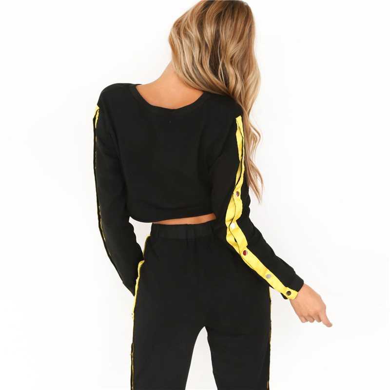 Women's Two Piece Set, Sweater Shirt Hoodie, Black Side Stripe Pants 16