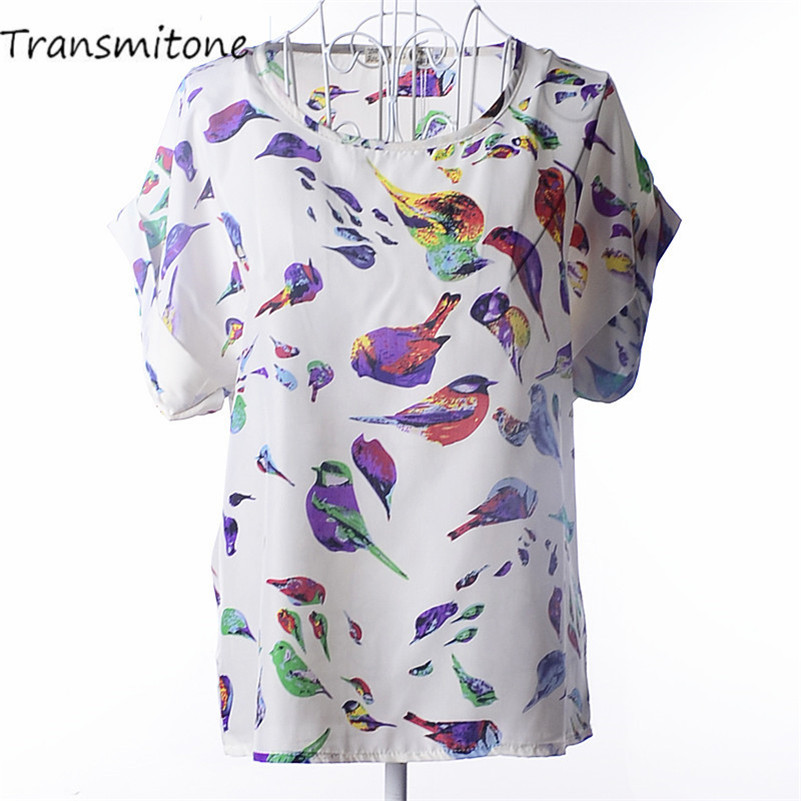 Summer Chiffon Blouse Women Sunflower Birds Print Blouse Stripe Plaid Shirt Cross Love Blouse Short Sleeve Blue Lipstick Shirts(China)