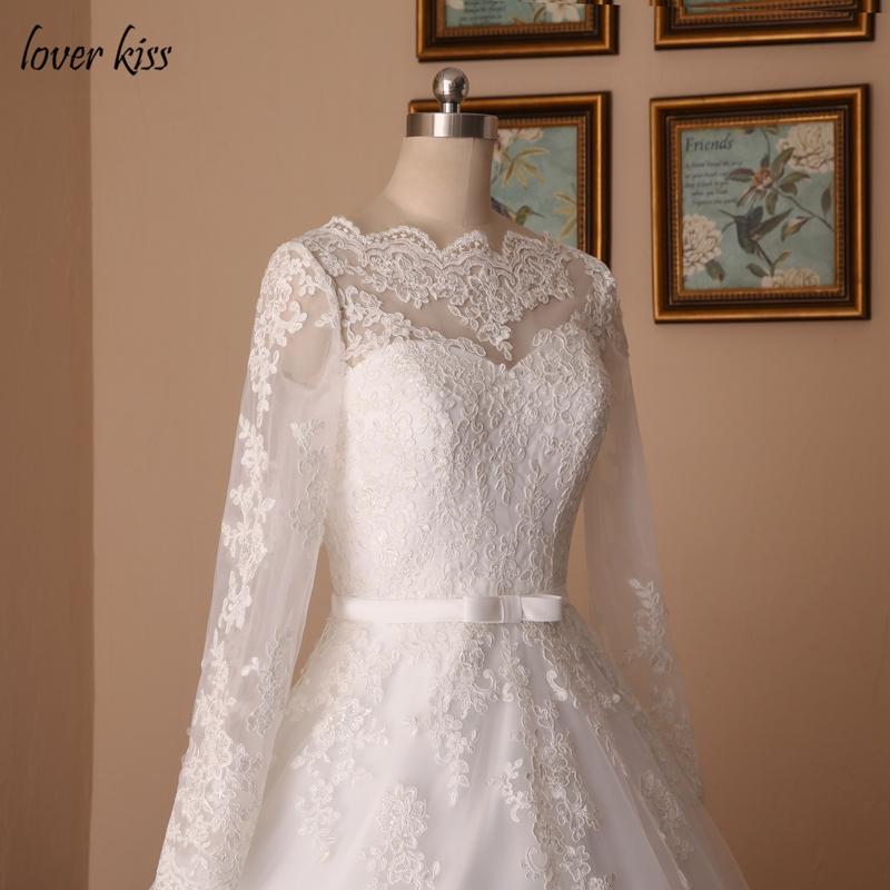 Lover Kiss Vestido De Noiva Custom Sheer Tulle Long Sleeve Wedding Dress Corset Back Lace Ball Gown Bridal Gowns For Weddings 7