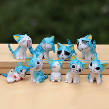 9pcs/lot Creative cheese cat doll mini Japan small place Christmas birthday present anime figure cheese cat toy doll(China)
