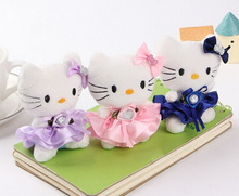 Random Color 10CM Diamond Hello Kitty Plush Stuffed TOY DOLL ;  Wedding Bouquet Decor TOY Gift DOLL
