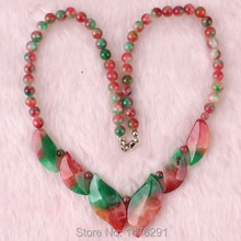 "Red Green Jades Leaves Bead Gems Necklace 18"" Strand"