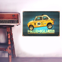 European Retro style yellow suvs sign board Wall stickers metal iron crafts pictures Furnishing articles painting draw bar house(China)