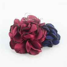 60pcs /lot 10cm large satin petal flower with clips ,decorative headband bake flower hair accessories sequin silk flower