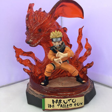 Naruto Uzumaki Naruto Kyuubi Kitsune Tailed Fox Pvc Action Figures Japan Anime 18Cm Collection Model Doll Kids Toys for Children(China)